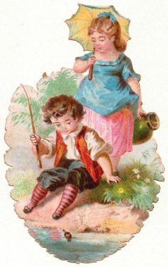 Oblaten-Glanzbilder-scrap-chromo: Am See -  um 1900   de.picclick.com