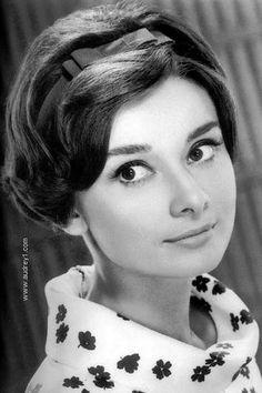 Audrey Hepburn's short hair and headband.