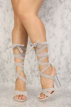 d0fd9613986577 Grey Strappy Lace Up Tie Clear Chunky High Heels Faux Velvet