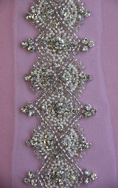 Shop for crystal on Etsy, the place to express your creativity through the buying and selling of handmade and vintage goods. Tambour Beading, Tambour Embroidery, Types Of Embroidery, Beaded Embroidery, Embroidery Patterns, Hand Embroidery, Beaded Appliques, Hand Work Design, Lesage