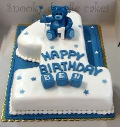Snooky doodle Cakes: Ben's first Birthday cake Cake 1 Year Boy, One Year Birthday Cake, Soccer Birthday Cakes, Toddler Birthday Cakes, Baby First Birthday Cake, Number 1 Birthday Cake Boy, Baby Boy Cake Topper, Baby Boy Cakes, Doodle Cake