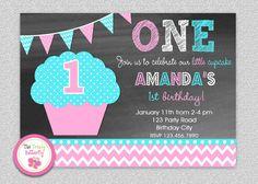 Sweet Treats Invitation Cupcake Photo invite Cupcake birthday
