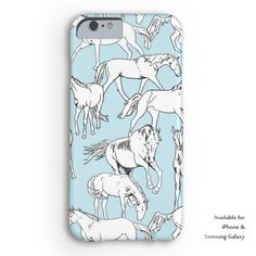 Blue Horses all over equestrian Iphone 6 case