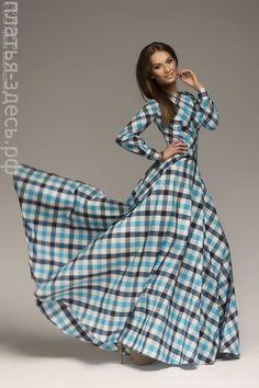 Платье длины макси в синюю клетку DM00096BL