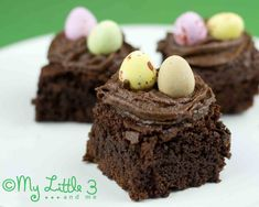 Mmmmm, yummy! Easter Chocolate Brownie Nests. Easy, pretty and oh so chocolatey!
