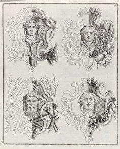 Vier decoraties met gezichten, Anonymous, 1704 - 1737