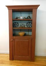 Primitive Country Cupboard or Hutch Red & Sky Blue 3 Shelves 1 Door Cabinet