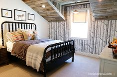 This boy's room is amazing. (Okay, the whole house is amazing.) Planked ceiling with reclaimed wood. And that wall paper! Love all the textures and colors. (Really worth the click through to see the rest of the room!)