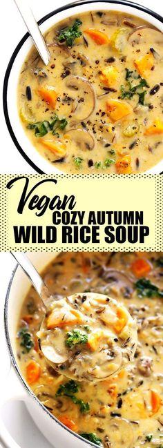 Vegan Cozy Autumn Wild Rice Soup - Yemek Tarifleri - Resimli ve Videolu Yemek Tarifleri Vegan Soups, Vegetarian Recipes, Healthy Recipes, Rice Vegan Recipes, Autumn Recipes Vegan, Hearty Vegetarian Soup, Fall Recipes, Vegan Vegetarian, Paleo