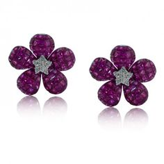 Invisible Set Ruby and Diamond EarRing S set in a Floral Design in 18KT White Gold 12.46ct C00438ER1V68-IAJD