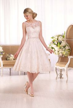 Brides: Short Wedding Dress with Lace Illusion Neckline by Essense of Australia. Style D2101, sleeveless wedding dress with illusion lace neckline and back, price upon request, Essense of Australia