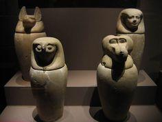 Vases canopes qui contiennent les organes momifiés.