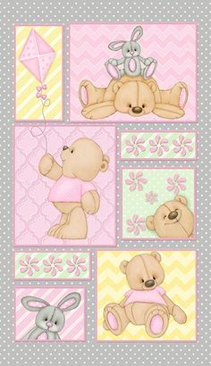 Teddy Time Flannel- F6245P-29 Bear Panel Pink Yellow Green Approx. Width 25 in X Length 43 in (WOF)