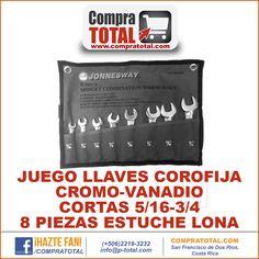 #CompraTotal - #HerramientaManualCostaRica JUEGO LLAVES COROFIJA CROMO-VANADIO CORTAS 5/16-3/4