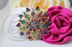 Rhinestone Brooch  Wedding Broach  Multi Color  by rosecarmen, $7.50