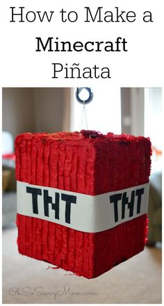 How to make a minecraft pinata tutorial. Not only is this pinata inexpensive, it is super easy to make! Perfect for an awesome Minecraft party! Minecraft Pinata, Minecraft Party Decorations, Minecraft Birthday Party, Minecraft Party Ideas, Minecraft Crafts, Minecraft Houses, Minecraft Balloons, Minecraft Sword, Minecraft Bedroom