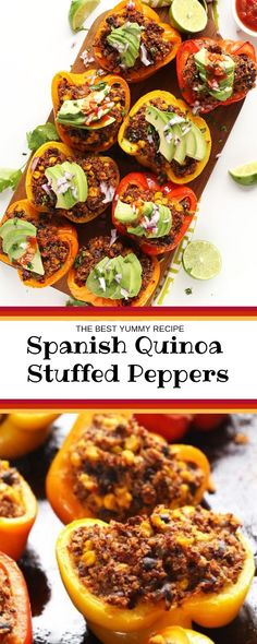 This instruction was inspired by my ongoing couple for Mexican content and my want to create statesman plant-based, considerable entrees. Vegan Recipes, Vegan Food, Delicious Recipes, Healthy Food, Quinoa Stuffed Peppers, Spicy Chicken Recipes, Entrees, Spanish, Food And Drink