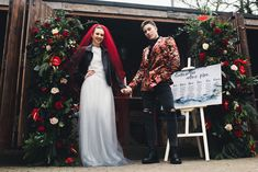 Alternative and Relaxed Rock Wedding at The Greyhound Hotel, London, with red bridal veil. patterned grrom suits and non-tradtional wedding dress. Bridesmaid Separates, Bridal Separates, Bridesmaid Outfit, Bridesmaids, Wedding Show, Wedding Day, Witch Wedding, Sustainable Wedding