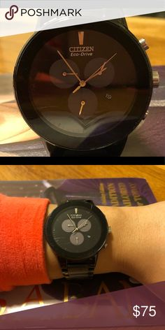 Men's Citizen Watch Citizen Eco Drive Watch -Black w/black face Perfect working condition Look at second pic - there are scratches on the face No additional links  No box Citizen Jewelry