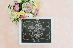 Wedding Art - And They Lived Happily Ever After - Paper Anniversary Gift - Wedding Photo Prop - Chalkboard Art  - Chalkboard Print