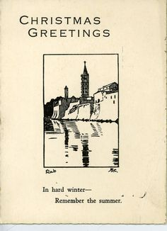 Christmas card, c.1930-1940, signed Rab SC. (Leeds Museums and Galleries Collection)