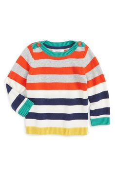Mini Boden 'Festive' Stripe Sweater (Baby Boys)