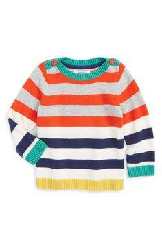 Mini Boden 'Festive' Stripe Sweater (Baby Boys)