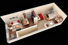 We feature 50 studio apartment plans in perspective. For those looking for small space apartment plans, your search ends here. Small Apartment Plans, Studio Apartment Floor Plans, Condo Floor Plans, Apartment Layout, Small House Plans, Small Apartments, Small Spaces, Casa Loft, 3d Home