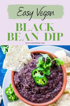 This Fat-free Easy Vegan Black Bean Dip is one of our favorite recipes of all time! It tastes amazing, it's healthy and is sooo simple to make--you probably have all the ingredients in your home right now so what are you waiting for? Tasty, dairy free and gluten free. Free Recipes, Easy Recipes, Whole Food Recipes, Vegan Recipes, Yummy Healthy Snacks, Easy Snacks, Healthy Foods, Fat Free Vegan, Dairy Free
