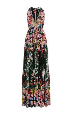 Flower Palm Printed Crepe Georgette V-Neck Gown by Elie Saab for Preorder on Moda Operandi