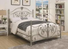 Decorated with ornate scrollwork, the Coaster Furniture Evita Metal Panel Bed adds a touch of traditional glamor to any space. The metal frame is. Queen Metal Bed, Bedroom Setup, Master Bedroom, Bedroom Decor, Bedroom Ideas, Modern Bedroom, Wrought Iron Beds, Coaster Fine Furniture, Bed Dimensions