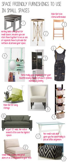 Space Friendly furnishings to use in small spaces!! via Whitney J Decor