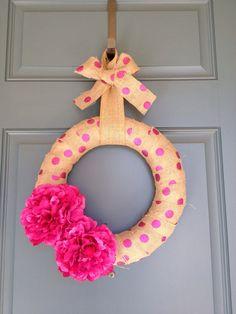 Pink Polka Dot Burlap Flower Wreath by PolkadotsOriginals on Etsy