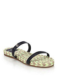 10205064b6451d Tory Burch - Leather Espadrille Slide Sandals