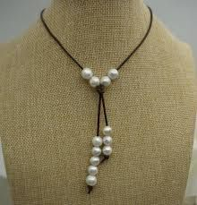 Image result for trendy pearl and leather necklace