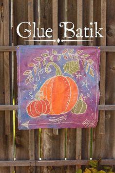 Glue Batik Technique - Think Crafts by CreateForLess Fabric Painting, Fabric Art, Fabric Crafts, Sewing Crafts, Shibori, Glue Art, Do It Yourself Inspiration, Batik Art, How To Dye Fabric