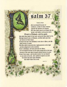 Salmo 37 illuminato calligrafia laminato Print di angelworx