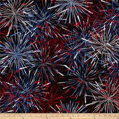 Kanvas Celebrate III Starburst Red/White/Blue from @fabricdotcom  Designed by Maria Kalinowski for Kanvas in association with Benartex, this cotton print fabric is perfect for quilting, apparel and home decor accents. Colors include white, shades of red, and shades of blue.