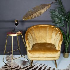 The perfect tub chair, with soft, bronzed hued velvet, deep ridged stitch design and gold tapered legs. Tub chairs don't come much slicker than this. Balcony Table And Chairs, Side Chairs, Gold Couch, Mid Century Interior Design, Blue Velvet Dining Chairs, Yellow Chairs, Black Chairs, Luxury Decor, Vintage Chairs