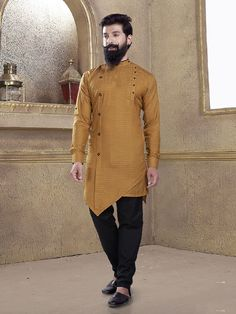 Shop Cotton silk fabric mustard yellow kurta suit online from India. Men Wedding Attire Guest, Wedding Dress Men, Kurta Pajama Men, Kurta Men, Mens Indian Wear, Indian Men Fashion, Pathani For Men, Kids Kurta, Pathani Kurta