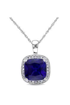 Sapphire & Diamond Pendant Necklace.