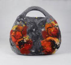 Felted Bag Handbag Purse Felt Nunofelt Nuno felt Silk by filcant