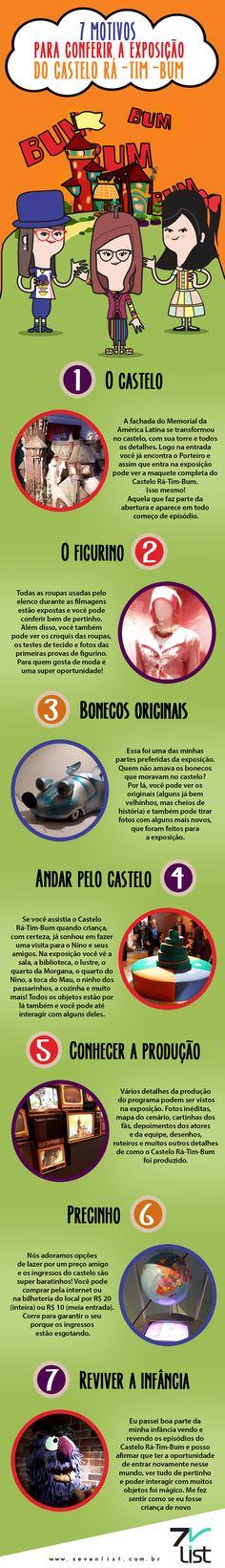 E mais uma exposição super bacana está acontecendo em São Paulo: Rá-Tim-Bum, o Castelo. E é claro que o Seven List preparou uma lista especial para você, veja: 7 motivos para conferir a exposição do Castelo Rá-Tim-Bum. #SevenList #Ilustração #CasteloRáTimBum #Exposição #Infográfico #Lista #Figurino #Castelo #Elenco #Seriado #Produção #SãoPaulo