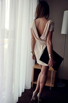 Dress: prom  es open back backless beige vback v-back short sleeve drape back wrap back short