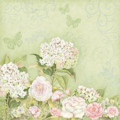 K and Company - Floral Collection - 12 x 12 Paper - Roses Hydrangea