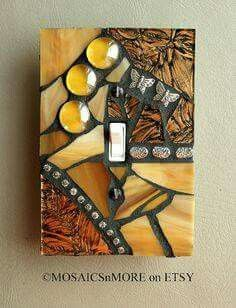 Espelho de interruptor enfeitado com mosaico