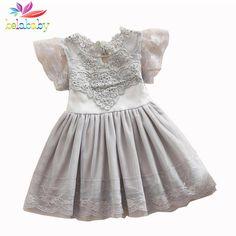 Belababy Princess Girl Dress 2017 Summer Children Lace Flower Vestidos Para Ninas Kids Petal Sleeve Party Dresses For Girls