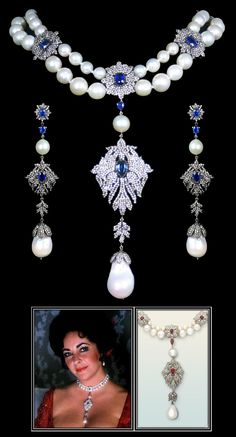Kyanite, Diamond, and Pearl Necklace & Earring Suite. Necklace accompanied by 13.51 carats of Kyanite, 13.63 carats of Diamonds, and 430.55 carats of Pearls. Earrings accompanied by 1.45 carats of Kyanite, 2.50 carats of Diamonds, and 22.50 carats of Pearls. | Similar in style to Elizabeth Taylor's own La Peregrina Pearl Necklace, which dates back to the 1500s and was custom set in a necklace design by Cartier for Taylor. |