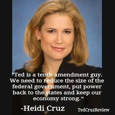 HEIDI CRUZ SPEAKS OUT IN SUPPORT OF HER HUSBAND! TED CRUZ WILL UPHOLD THE CONSTITUTION OF THE UNITED STATES OF AMERICA! IT IS TIME TO RETURN TO OUR AMERICAN VALUES - WITH TED CRUZ FOR PRESIDENT! TED CRUZ 2016 GOP NOMINEE ☆ Wonderful Pic and Statement * ‪#‎TEDCRUZ‬!