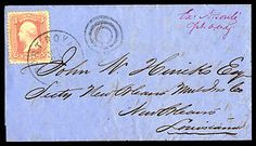 Mail was exchanged across the border during the Civil War on flag-of-truce points. This letter entered the mail at Port Royal. The 1861 3-cent stamp carried it into occupied New Orleans.